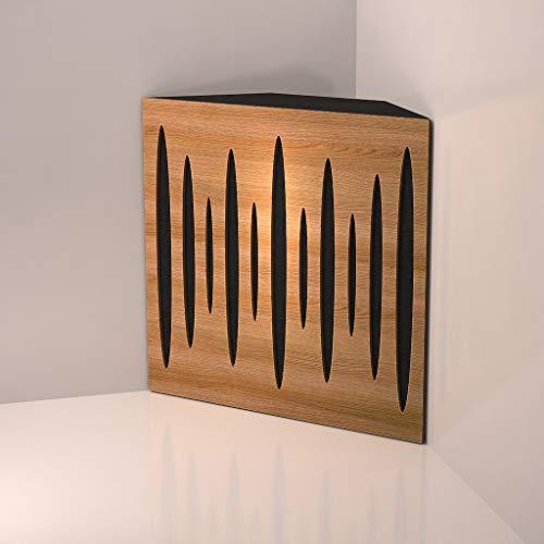 "(4 Pack) Corner Bass Trap,""Pulse"" acoustic foam panel for Rec Studio | Wood laminated: (Oak)"