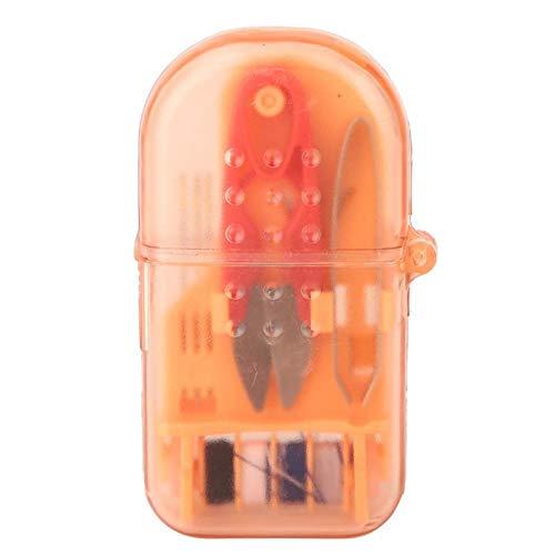 Jeanoko Color brillante Mini herramienta de costura Set Mini caja de costura Ropa de plástico con tijeras Agujas Artesanías para coser (naranja)
