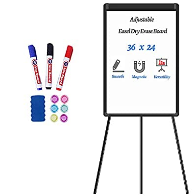 VFFUNNX Black Magnetic Dry Erase Board 24 x 36 Whiteboard Stand Whiteboard Easel,Easel Whiteboard Flipchart Easel Stand Portable Whiteboard White Board with Stand for Home,Classroom,Office…