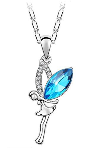 Yumilok - Colgante Plata con Cristal Azul de Austria, en Forma de Ángel O Hada, Collares para Mujeres y Niñas