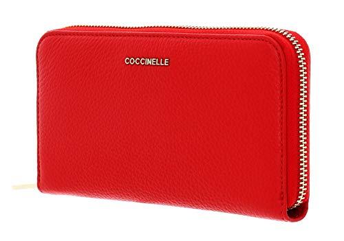 Coccinelle Zip Around Wallet metallico morbido con Zip Around Wallet L Zip Around Wallet Polish Red