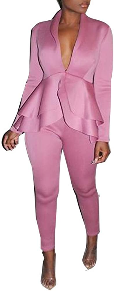 Women Deep V Neck Long Sleeve Slim Fit Blazer Jacket Floral Print Long Pants 2 Piece Suit Set Outfits