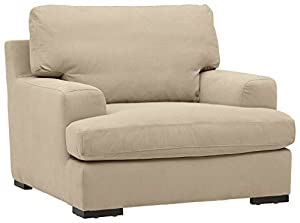 """Amazon Brand – Stone & Beam Lauren Down-Filled Oversized Living Room Accent Armchair with Hardwood Frame, 46""""W, Fawn"""