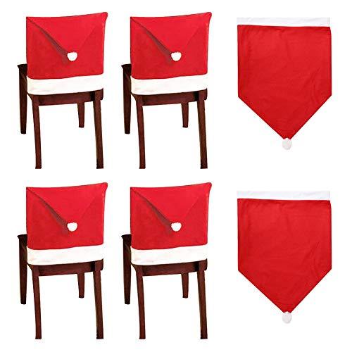 10 Santa Hut Stuhl Bezüge, Rote Hut Stuhl Rückseiten Abdeckungen Küchen Stuhl Abdeckungen Stellt für Weihnachtsfeiertags Festlichen Dekor, Xmas Weihnachten Party Decor,50 x 60 cm / 19,7 x 23,6 Zoll