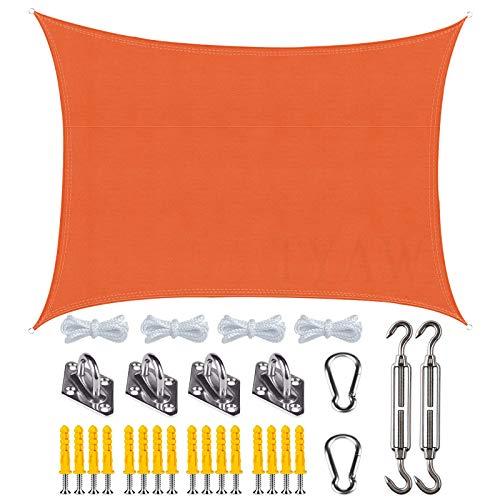 Vela de Sombra, Toldo Vela Rectangular con Kit de Montaje,Protección Rayos UV Impermeable,para Patio Exteriores Jardín- Orange|| 3x5m(9.8x16ft)