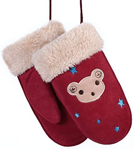 New Winter Boys Girls Gloves Cute Warm Rope Full Finger Mittens Gloves for Children Kids - (Color: Z25)