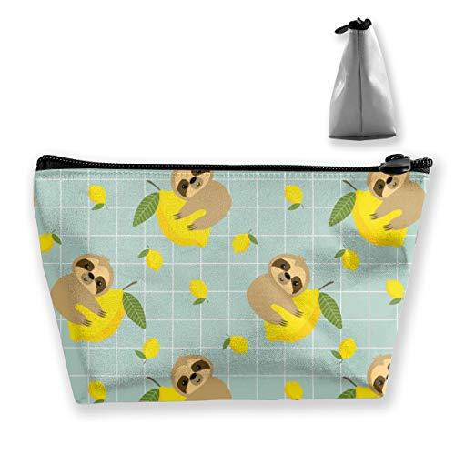 Multi-Functional Print Trapezoidal Storage Bag for Female Sloth Lemon