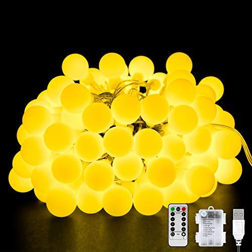 Cadena de Luz de Bola LED, 40 LED 8 Modos Guirnaldas de Luces USB/Batería, Resistente al Agua Cadena de Luces con Temporizador y Control Remoto para Interior, Exterior, Fiesta, Decoración de Boda