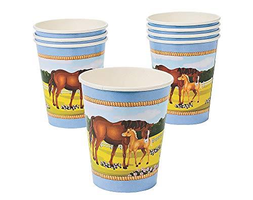 Mare y potro caballo vajilla–Platos, vasos, servilletas y mantel de Paper Cups (8 Pack)