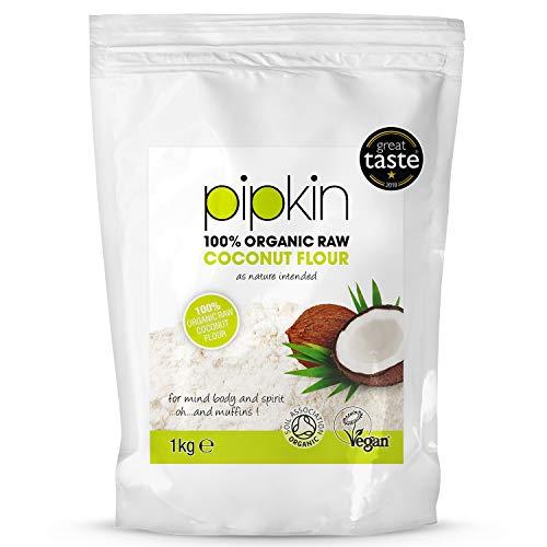 Pipkin 100% Bio-Kokosmehl 1kg, rohes, unverarbeitetes, nicht genmodifiziertes Superfood , reich an Ballaststoffen, Low Carb, ungebleicht, nicht genmodifiziert, alternatives Mehl frei von