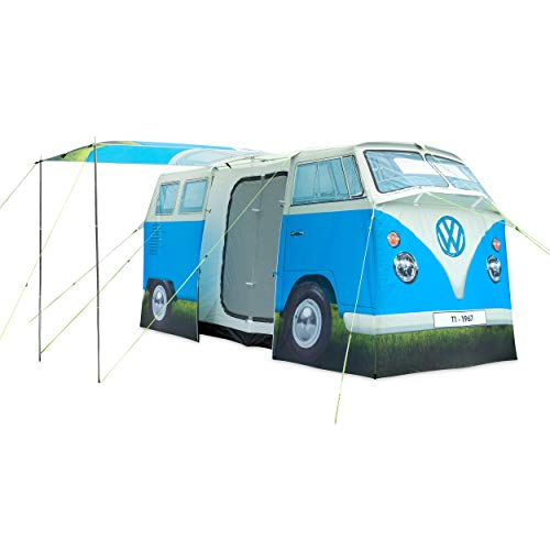 VW Camper Van 4 Man Tent, Official Volkswagen Waterproof Camping Tent, 1:1 Replica Size to Original T1 Camper Van, Blue