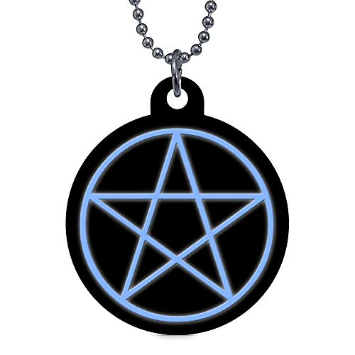 onepicebest Personalized Pet Tags for Dogs and Cats,Custom Pet ID Tags Falln Pagan Pentacle Pet Name Tag Pet Gifts - Round Stainless Steel