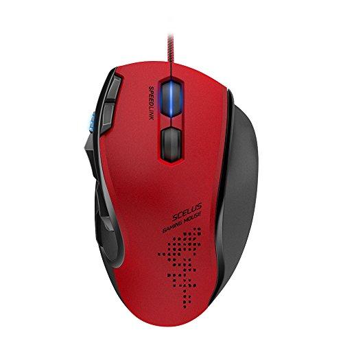 Speedlink SCELUS Pro High End Gaming Mouse USB - Programmierbare Gamer Maus für Computer mit bis zu 3200 DPI, 2 Mausräder, rot - schwarz