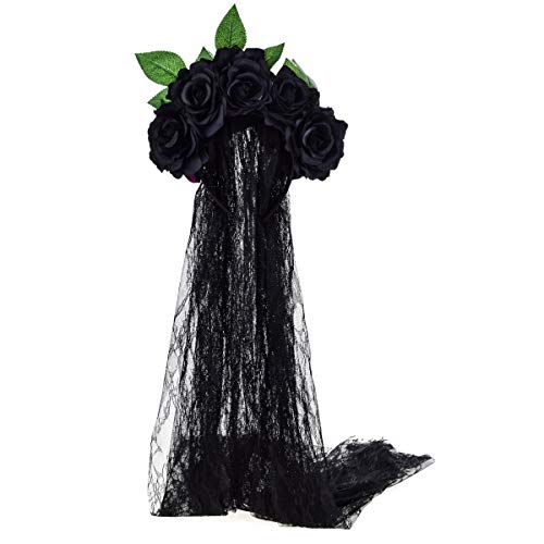 June Bloomy Day of the Dead Headpiece Rose Floral Crown Veil Halloween Costume Mexican Headband (Black)