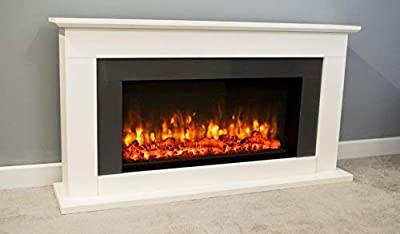 Suncrest Georgia Textured White Surround Modern Electric Fire LED Fireplace Suite