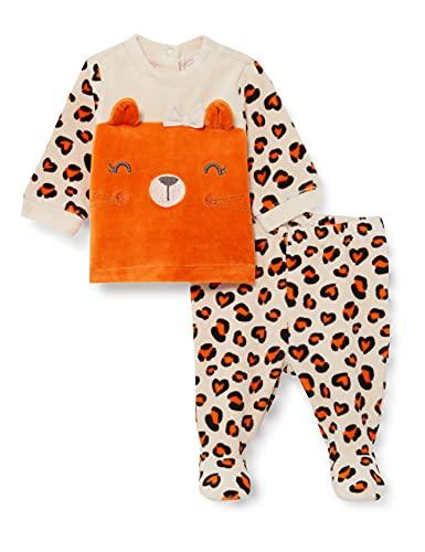 Chicco Completino Maglietta e Pantaloni in ciniglia Juego de Pijama, Rosso E Bianco, 56 cm Unisex bebé