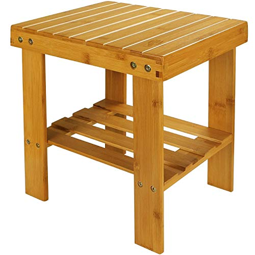 STARVAST Small Bamboo Step Stool Shoe Bench Multi-Functional Wooden Stool Seat Kids Foot Stool Ideal for Entryway Foyer Hallway Garden - Large Size