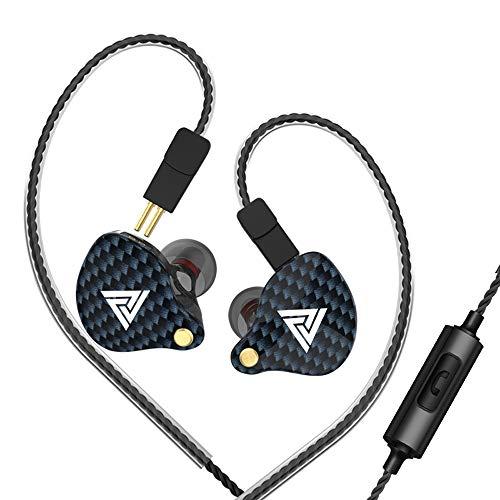 Gamogo QKZ VK4 Auriculares con Cable de 3.5 mm Auriculares Deportivos en la Oreja Bobina móvil Auriculares de música Control en línea con micrófono Cable reemplazable Desmontable