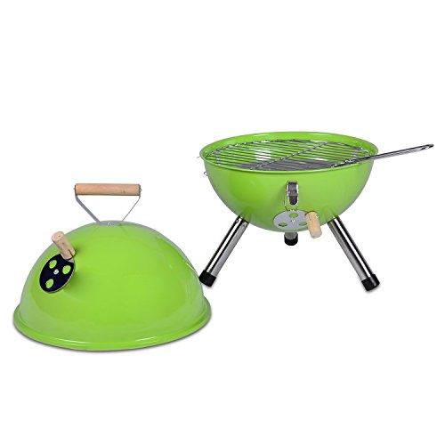 Nexos YG00263_G Mini Grill Kugelgrill Holzkohlegrill für Garten Terrasse Camping Festival Picknick BBQ Barbecue  Ø 30 cm grün - 2