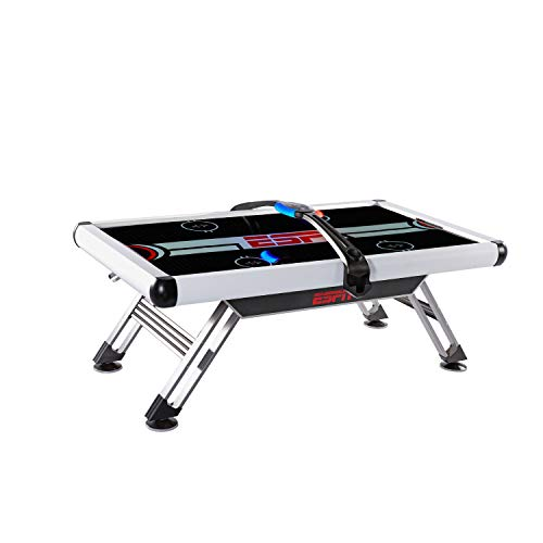 ESPN Sports Air Hockey Game Table: 84 Inch Indoor Arcade Gaming Set with Electronic Overhead Score System, Sound Effects (AWH084_218E)