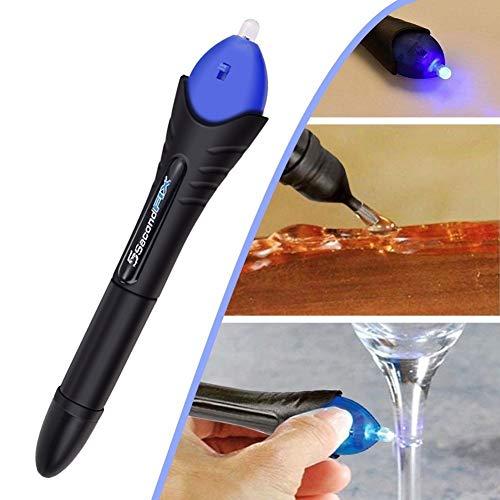 Leayao Adhesivo activado por UV, bolígrafo de luz UV, se seca en 5 segundos, líquido, vidrio, soldadura, reparaciones, herramientas, despliegue rápido, acolchado opcional