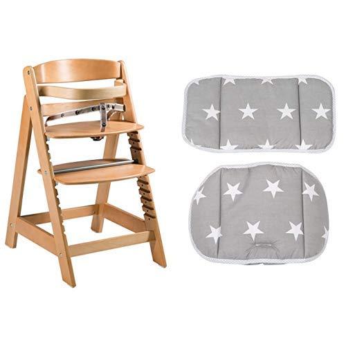 roba Treppenhochstuhl mitwachsend, Sit Up Click, Holz naturfarben, mit Sitzverkleinerer Little Stars
