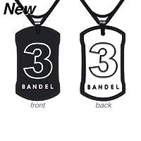 野球用品・アクセサリー[バンデル]ナンバーネックレス No.3 リバーシブルタイプ(ブラック&ホワイト)60cm(縦40mm横24mm)[BANDEL]