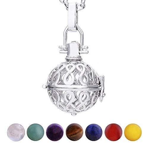 Morella Mujeres Collar 70 cm Acero Inoxidable con Colgante infinidad y 7 Piedras Preciosas Gema Bolas de Chakra en Bolsa Der joyería
