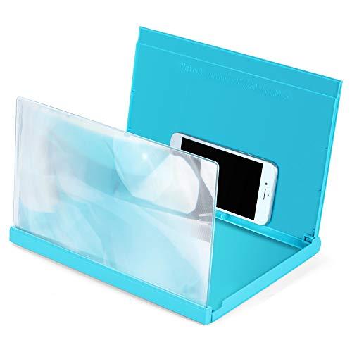 QINGJIA 12 Pulgadas de Pantalla del teléfono móvil Curvo Amplificador HD 3D vídeo del teléfono móvil Lupa del Soporte del Soporte for teléfono Lectura/Obeservación/Reparación (Color : Brown)