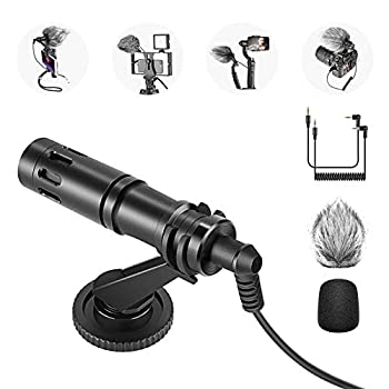 Neewer CM14 Microphone for Phone Mini On-Camera Video Microphone with Mic Mount Windscreen Audio Cables Compatible with iPhone/Android Phone/DSLR Camera/Camcorder  Adapter for iPhone Not Included