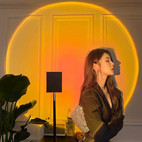 Lámpara Para Proyector Tik Tok Sunset, Lámpara de Pie Sunrise de 180 Grados, Lámpara de Pie LED de Arco Iris Proyector de Atmósfera Romántica Luz de Noche Luz de Foto de Anclaje Tik Tok,Sunsetred