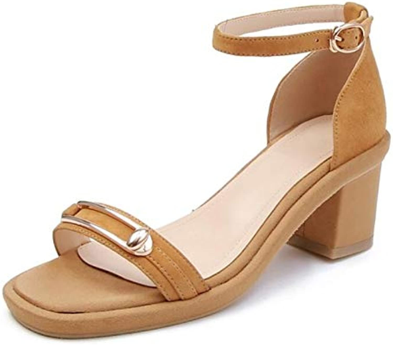 IWlxz Women's Suede Sheepskin Summer Sandals Chunky Heel Black Yellow Almond