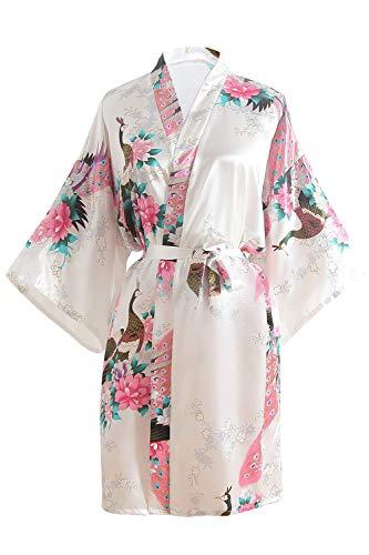 OLESILK Damen Kurz Morgenmantel Satin Kimono Morgenrock Kurzarm Robe Bademantel mit Gürtel V-Ausschnitt Nachtwäsche Negligee mit Pfau und Blumen Muster, Weiß