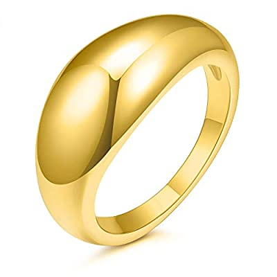 JINEAR 14k Gold Plated Chunky Thick Dome Gold Rings Wedding Band Statement Rings High Polish Lightweight Comfort Fit Size 5-9