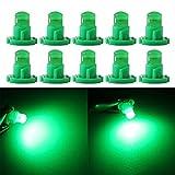 Qasim 10x T4.2 LED COB Lampadine 1SMD Verde per auto Luce Cruscotto Strumento Tachimetro Pannello DC 12V