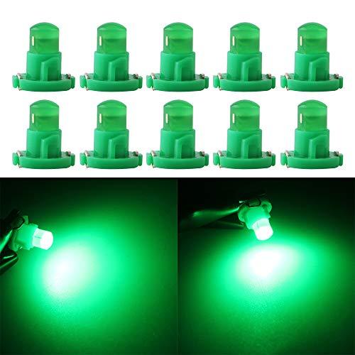 Qasim 10x T4.2 LED COB Bombillas Verde 1SMD para Luz de Salpicadero de Coche Instrumento Velocímetro Panel DC12V