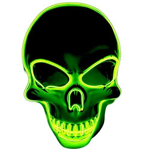 BFMBCHDJ Unisex Halloween Leuchtende Maske Cosplay Led Horror Tod Schädel El Line Neon...