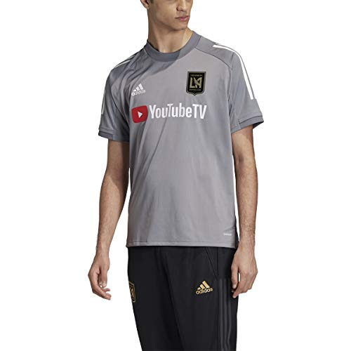 adidas Los Angeles Fc Adult Soccer Training Jersey Grey/White L