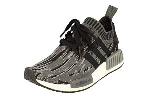 Adidas Originals NMD_R1 PK Hombre Running Trainers Sneakers Zapatos Prime Knit (UK 3.5 US 4 EU 36, Black Grey White BZ0223)