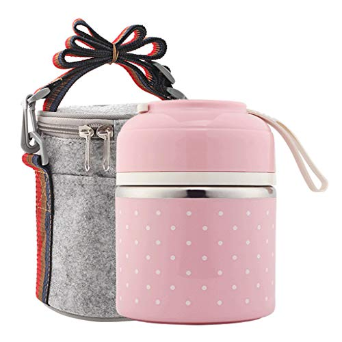 Stackable Lunch Box, Stainless Steel Thermal Insulated Bento Lunch Container with Lunch Bag & Cutlery, Leakproof Food Storage Container for Office Kids (Pink -1)