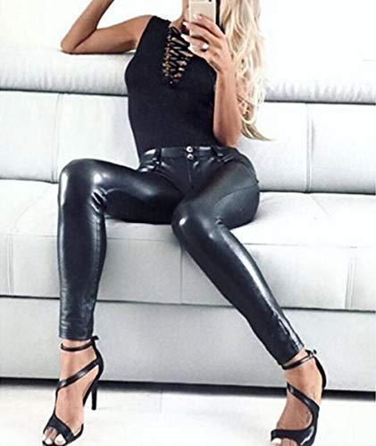 IHCIAIX Damen Lederhose,Damenhose PU Lederhose, Leggings im Wet-Look Schwarze Hose, Damen Hip Push Up Sexy Skinny Büste Hose Weiblich Neu, Schwarz, S.