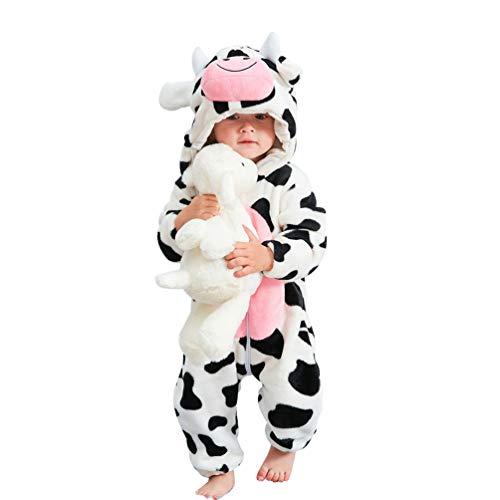 YOUJIAA Unisexo Mameluco para Bebé Niños Niñas Animal Disfraces Franela Caliente Peleles Manga Larga Pijama Mono con Capucha (Blanco Vaca, 80)