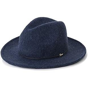 ililily Wool Felt Trilby Fedora Hat Tied Panama Teardrop Shape Bucket Hat, Navy