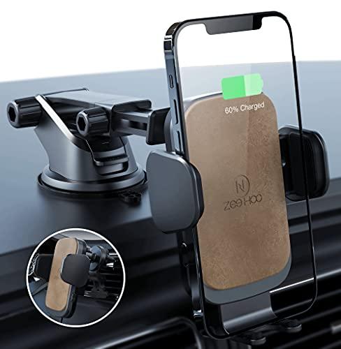 ZeeHoo Wireless Car Charger Mount with USB-C, 10W 7.5W Auto-Clamp Fast Wireless...