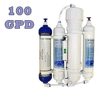 Finerfilters Filtre d'osmose inverse compact de 4 étapes avec la résine DI/tropical/marine/discus 50/75/100/GPD