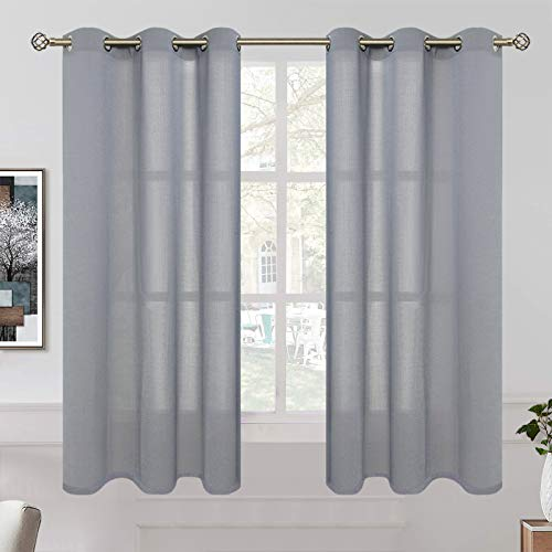 BGment Linen Look Semi Sheer Curtains for Bedroom, Grommet Light Filtering Casual Textured Privacy Curtains for Living Room, 2 Panels (Each 42 x 63 Inch, Grey)