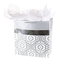 """Hallmark 15"""" Extra Large Gift Bag with Tissue Paper (Silver Damask) for Weddings, Engagements, Anniv"""