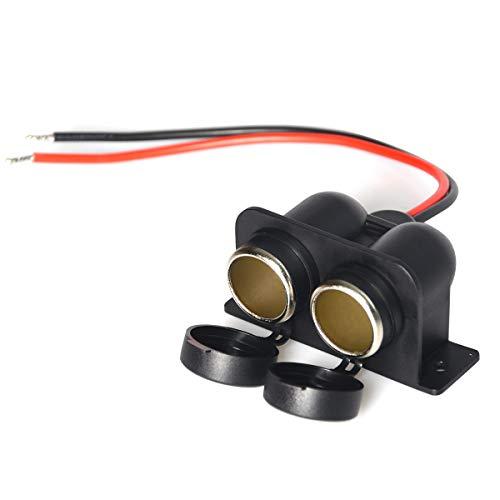 Dual hole car cigarette lighter socket motorcycle Enisina cigarette lighter female seat 12V-24V power socket with wire