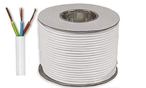 50 Meter carrete/tambor blanco 2,5 mm 24 Amp 3093Y 3 Core Cable...
