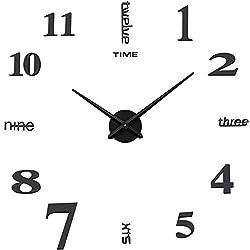 Aililife 3D DIY Wall Clock Decor Sticker Mirror Frameless DIY Wall Clock Kit for Home Living Room Bedroom Office Decoration (Black)